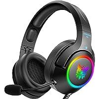 سماعة رأس للألعاب من أونIKUما بي إس 4 - سماعة رأس للألعاب إكس بوكس وان مع صوت محيطي، ضوء RGB LED وميكروفون بخاصية الغاء…