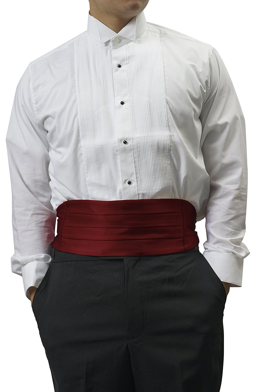 Simpowe Mens Solid Multi-color Silk Cumberbund One Size, Burgundy