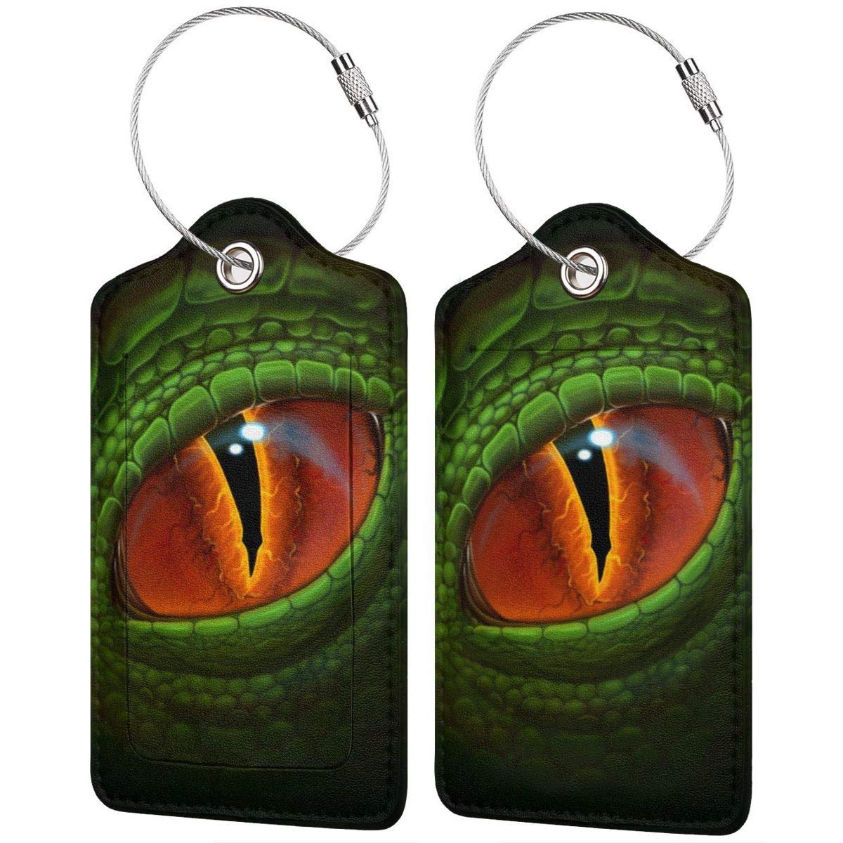 Green Dragon`s Eye Digital Realistic Painting Travel Luggage Tags With Full Privacy Cover Leather Case And Stainless Steel Loop