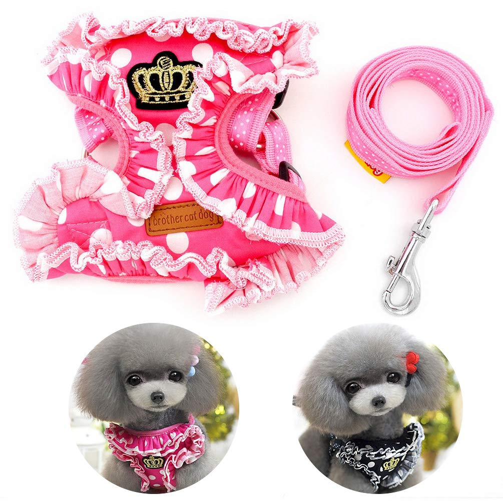 SMALLLEE_LUCKY_STORE Pet Polka Dots Crown No Pull Vest Harness Leash Set for Small Dog Cat, Pink, Medium by SMALLLEE_LUCKY_STORE