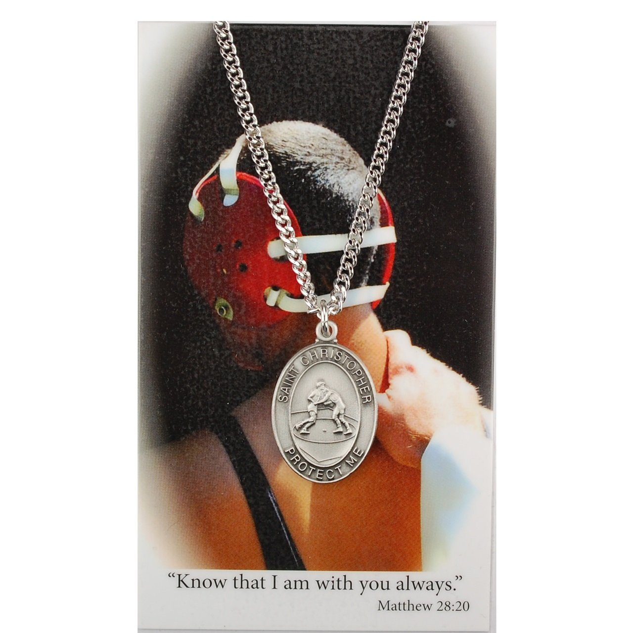 Boy's St. Christopher Pewter Wrestling Medal with 24'' Silver Tone Chain