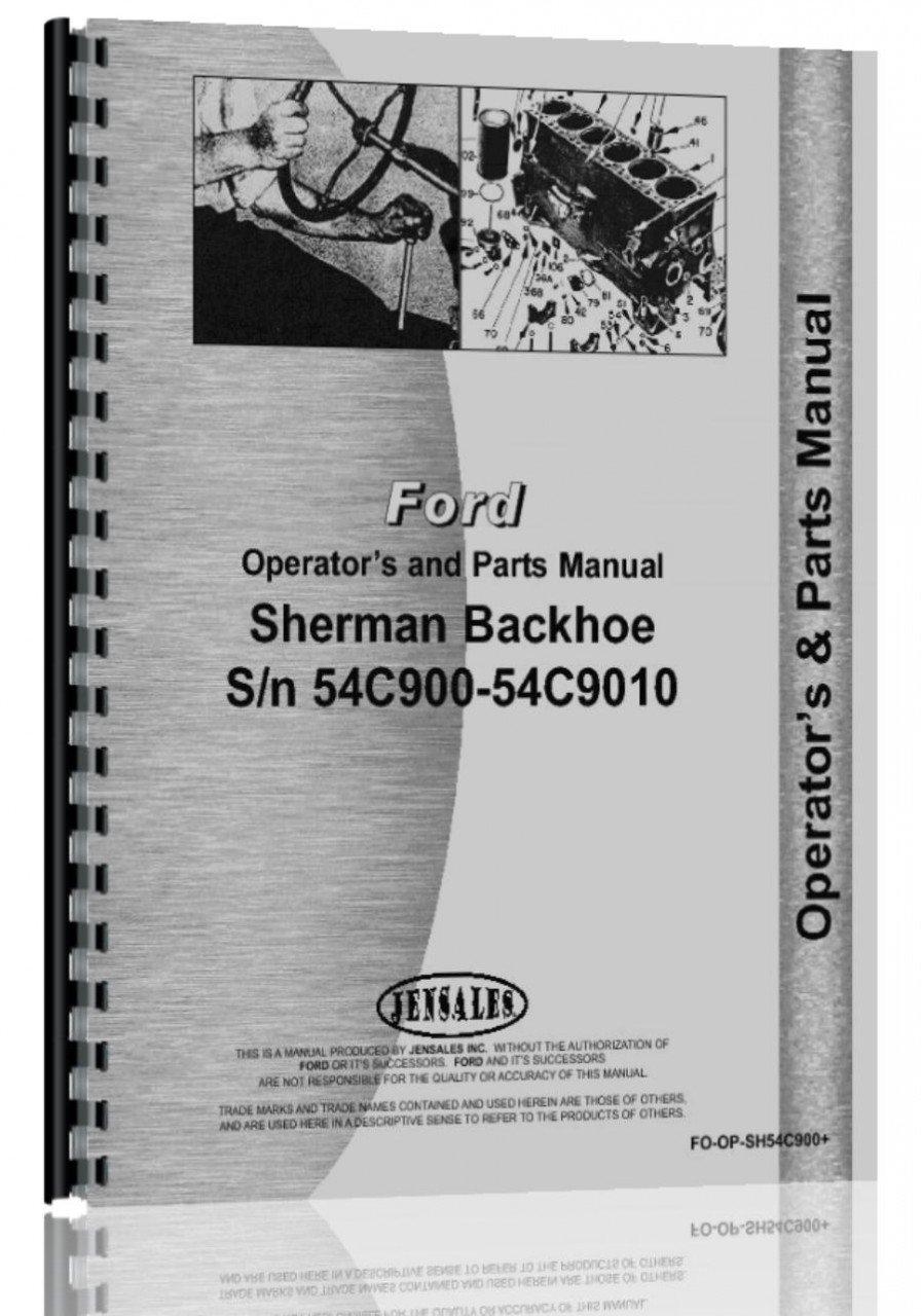 Ford 9n Sherman 54c900 Backhoe Attachment Operators Manual 8n Parts Diagram 6301147664594 Books
