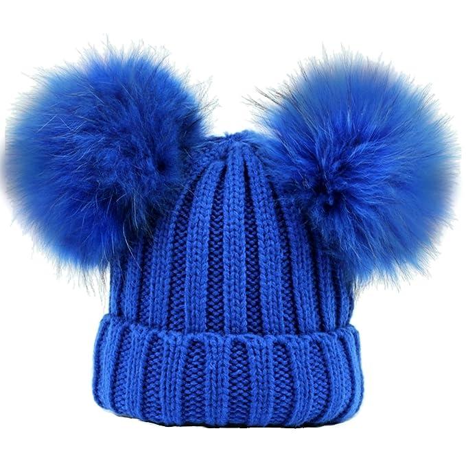 CAPPELLO ROYAL BLUE BLU DOPPIO PON PON VERA PELLICCIA MURMASKY (1-4 ANNI)  Cappellino Hat Fur Baby Kids Double Pom Pom Luxury Brillabenny  Amazon.it   ... b70cd2d7676e