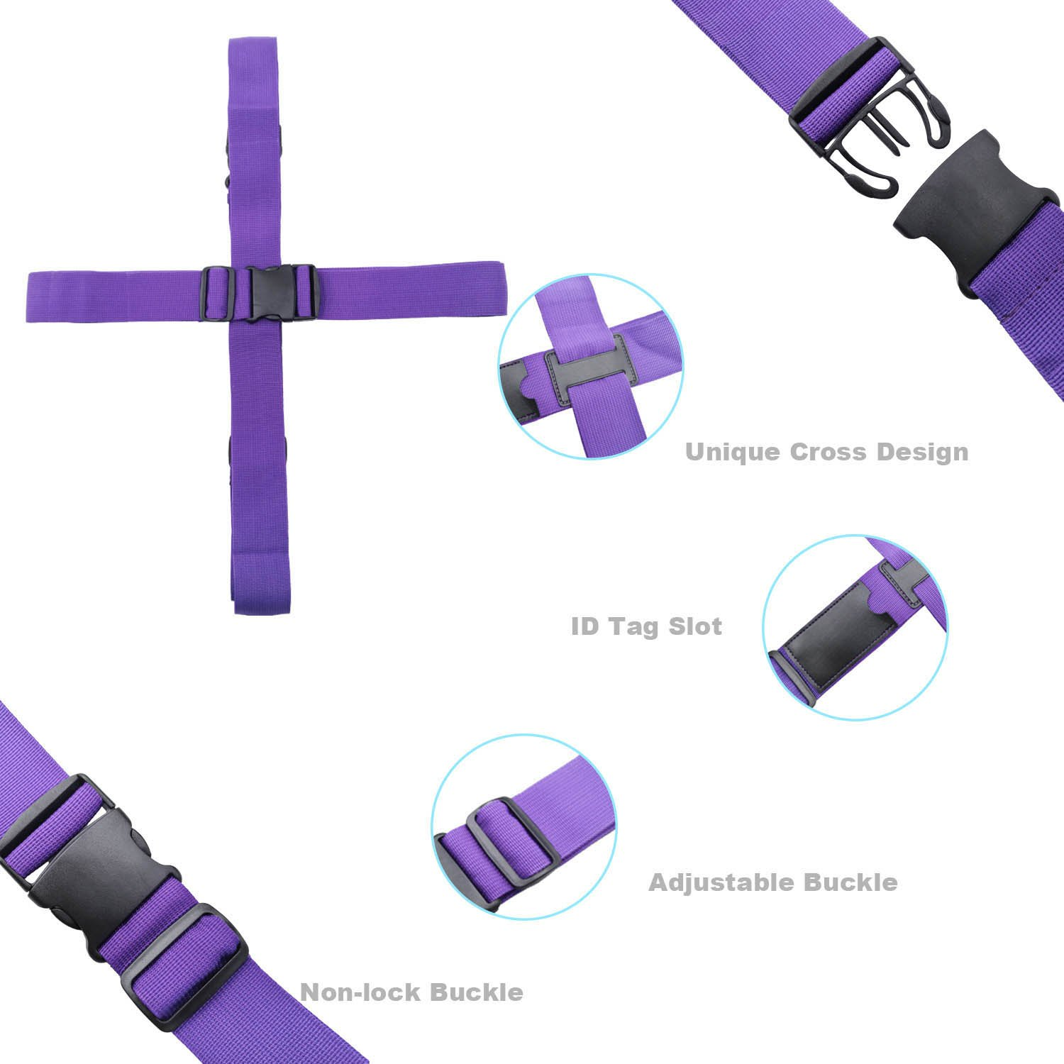 Dark Purple Kalevel 2pcs Luggage Straps Suitcase Belts Long Cross Travel Bag Accessories TSA Approved with Hands Free Add A Bag Luggage Strap