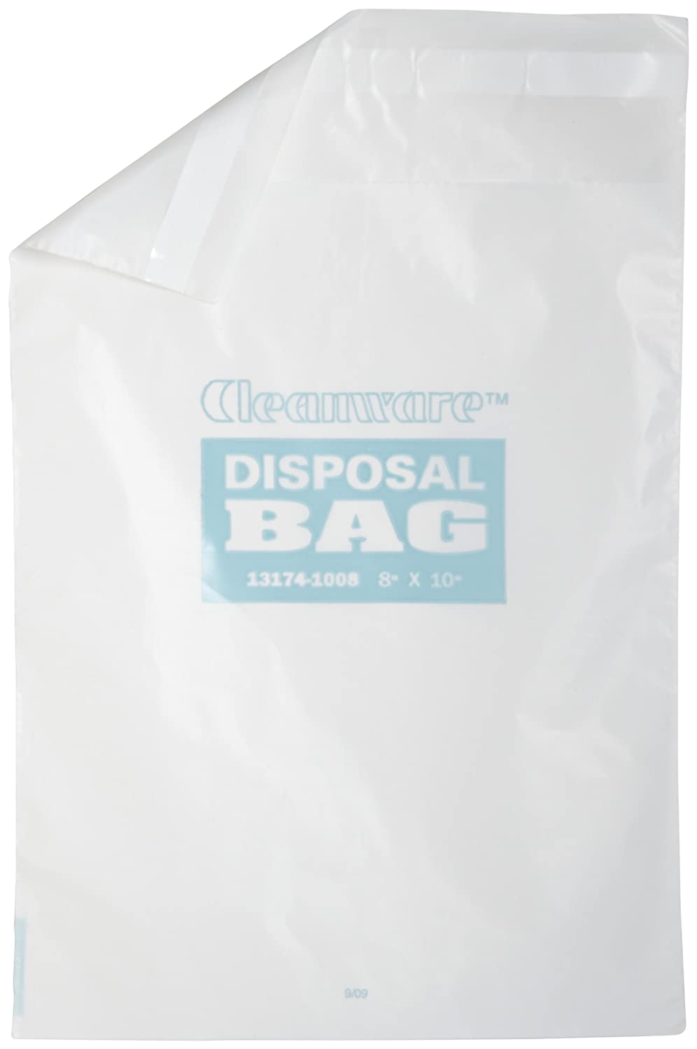 Bel-Art F13174-1008 Cleanware Polyethylene White Self Adhesive Waste Bags; Holds 3 lb, 8 in. W x 10 in. H, 1.0 mil Thick (Pack of 50) 131741008