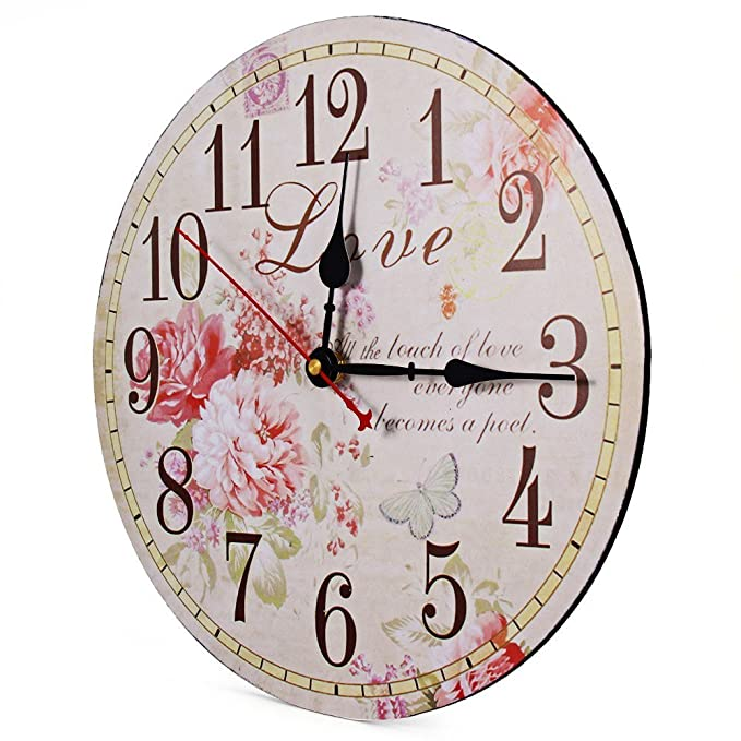 Amazon.com: Large Wall Clocks Retro Wooden Silent Vintage Home Decor Big Wall Watches Relojes Decoracion: Kitchen & Dining
