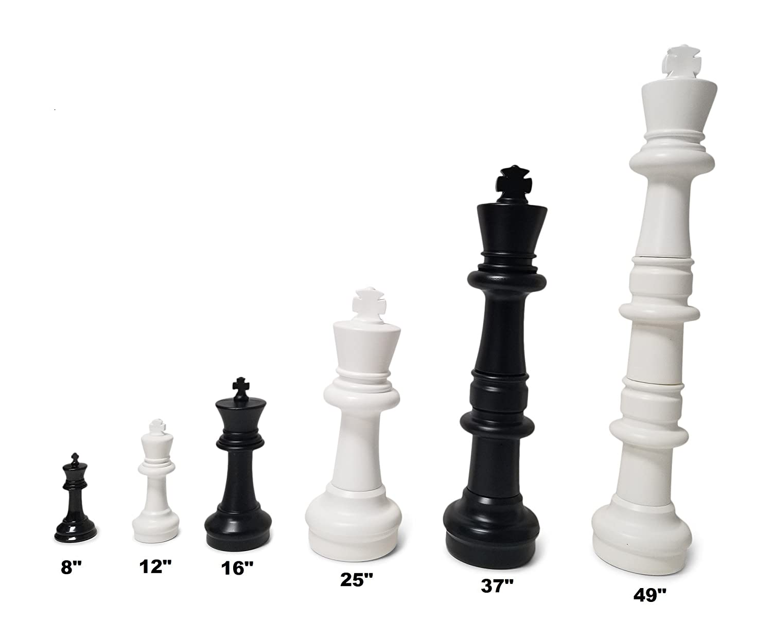 12 inch King; Bundle with Garden Checkers Set and Large Chess Board 3 items MegaChess Large Chess Set