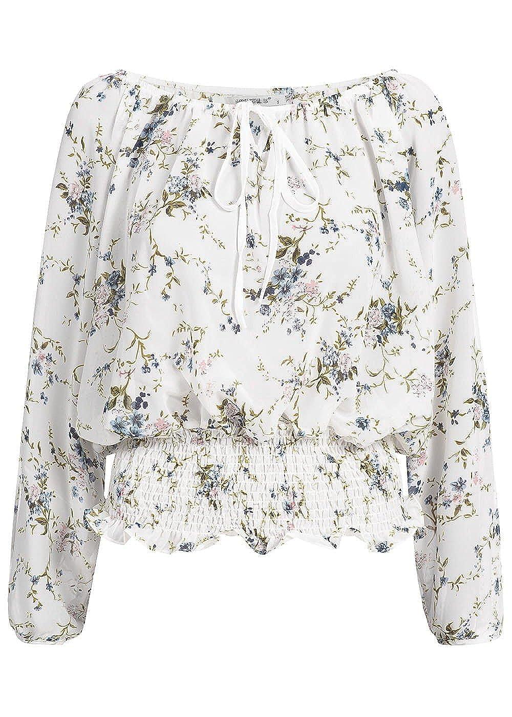 c767ba4d70030a Seventyseven Lifestyle Damen Leichte Bluse, Langarm, Blumen Print ...