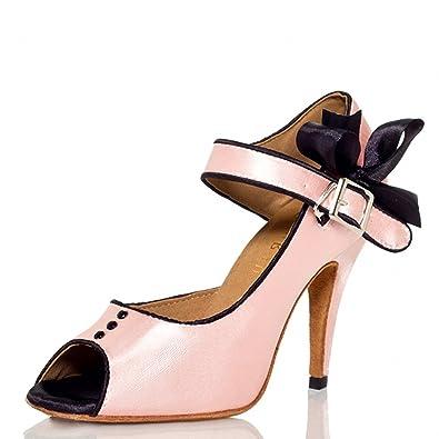 YFF Latin Dance Schuhe Frau High Heels Tanz Schuhe, Schwarz, 8,5 LEIT