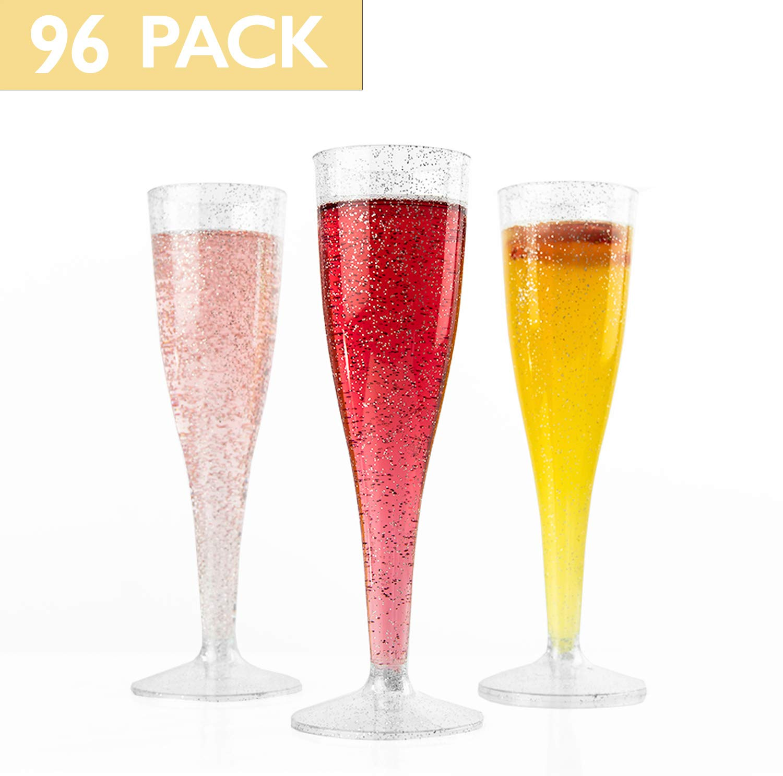 Party Bulk Champagne Glasses for Wedding 120 Premium Plastic Silver Glitter Champagne Flutes Toasting Mimosa or Cocktails Ilyapa IL-4.5CF120-SL