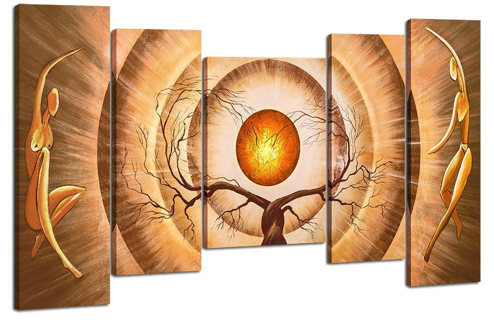 Santin Art - Modern Canvas Art Orange Trees Dancing Home Decoration Abstract Paintings on Canvas 5pcs/set Framed Art