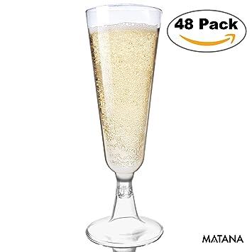 48 Copas Flauta para Champagne - Plástico Desechable - Vaso Alargado ...
