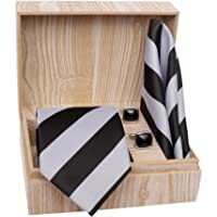 MENSOME Men's Microfibre Multi-color Stripes Tie Set Solid With Cufflinks And Pocket Square Gift Set