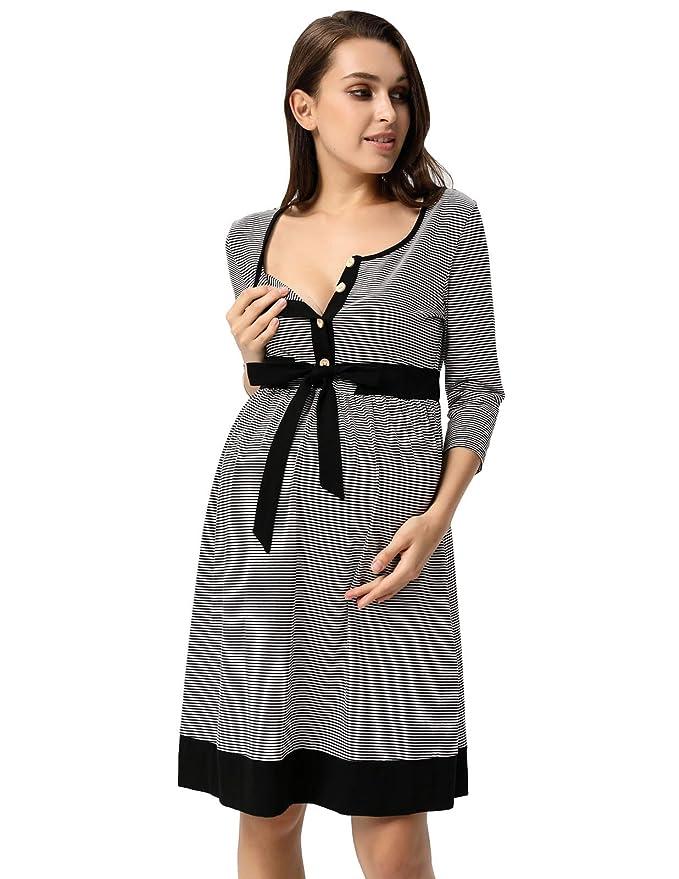 Maacie Vestido Premamá de Lunares para Las Mujeres Embarazadas Maternidad Lactancia Amamantar Manga 3/4: Amazon.es: Ropa y accesorios
