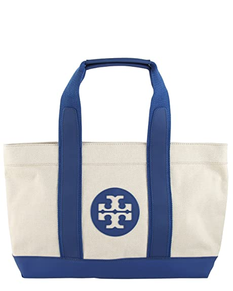 881f24f4abd3 Tory Burch Canvas Beach Tote in Natural and Surf Blue  Amazon.ca ...