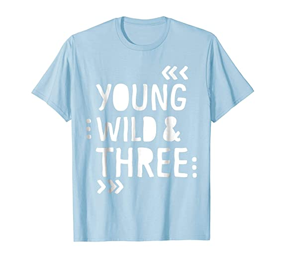 Mens Kids 3rd Birthday Shirt YOUNG WILD AND THREE 2XL Baby Blue