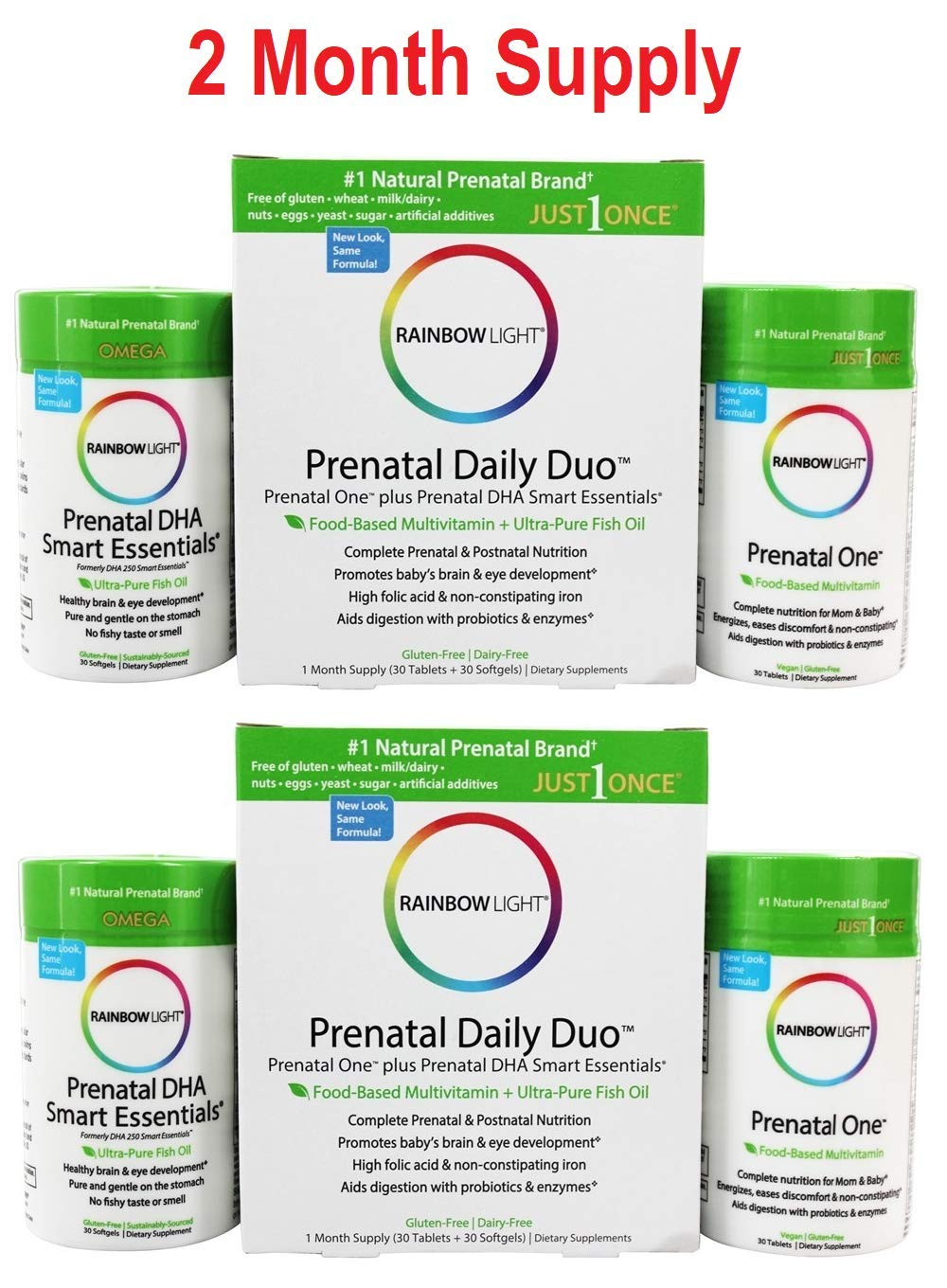 Rainbow Light - Prenatal Daily Duo, Prenatal One and Prenatal DHA Support a Healthy Pregnancy, Brain and Eye Development with Choline and Omega-3s DHA and EPA, Gluten-Free, Dairy-Free, 2 Month Supply