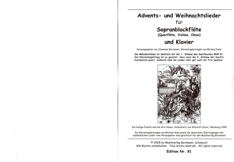 Advents- und Weihnachtslieder für Sopranblockflöte und Klavier ...