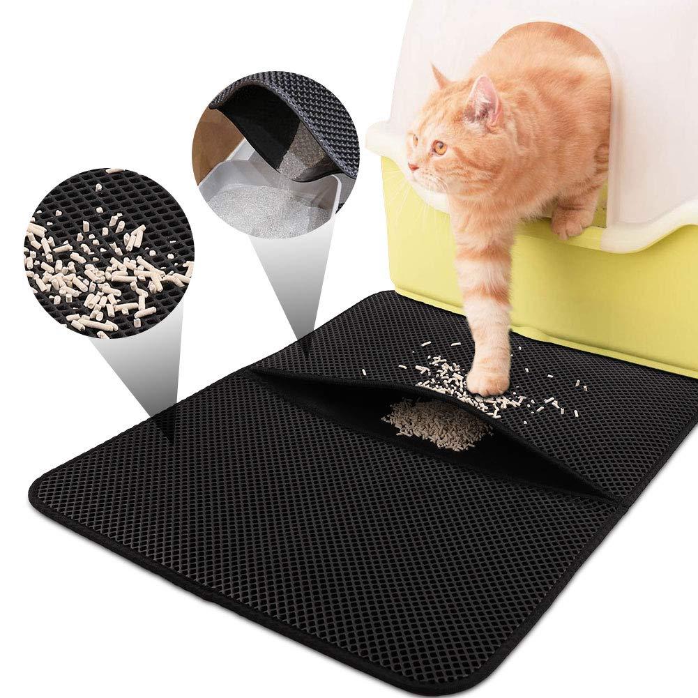 FREESOO Cat Litter Mat Litter Trapping, Litter Catcher Trap Mat Stink Free Waterproof Layer