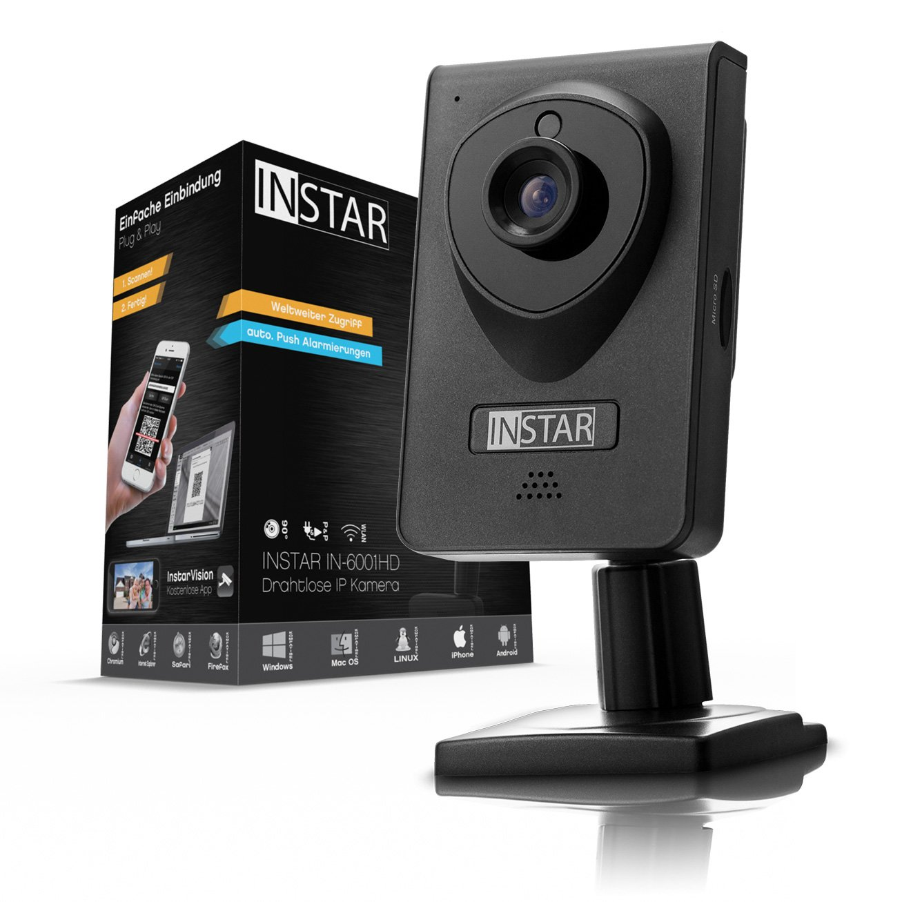INSTAR IN-6001HD HD IP Kamera / Ü berwachungskamera / ipcam mit LAN / Wlan / Wifi zur Ü berwachung oder als Baby Kamera (4 IR LED Infrarot Nachtsicht, Weitwinkel, SD Karte, WDR, Bewegungserkennung, Aufnahme) weiss INSTAR Deutschland GmbH (Non Con