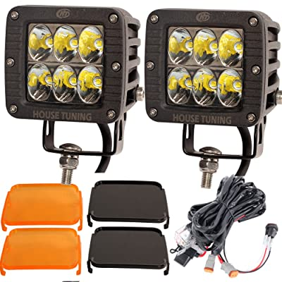 House Tuning LED Driving Light 3x3 inch 60W with Wire Harness kit,LED Cube Light Drive Beam for Off road 4x4 Trucks ATV UTV Driving Lights (Set of 2): Automotive