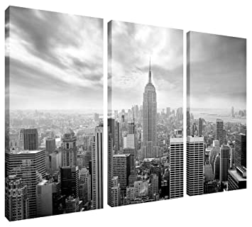 Canvas Picture New York Skyline in Black and White 3 Panel Split