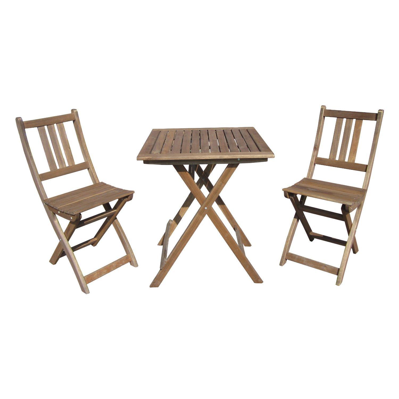 Balkonset 3teilig Tisch + 2 Stühle aus FSC zertifiziertem Holz