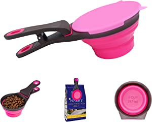 Collapsible Dog Food Scoop for Travel Home Outside with Bag Clip, Cover, Travel Bowl - Portion Control Multi-use Cat Food Scoop and Dog Food Measuring Cup - Dog Food Scooper for Containers 1 Cup Red