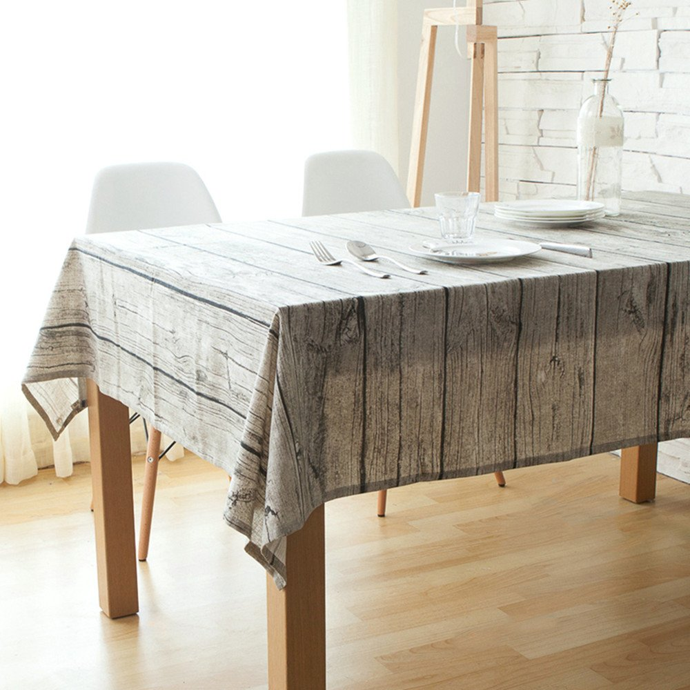 Luxiu Home Fake Grain Tablecloth Wood style Cotton Linen table cloth Country Style Letokruhy table cover Rectangle Oblong Senior Picnic Cloth for Kitchen Home 55x71 inch by Luxiu Home (Image #1)
