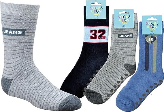 socksPur - Medias de fútbol - para niño 3134: JEANS schwarz, grau, blau nur in sortierung 3er PACK 19/22 cm: Amazon.es: Ropa y accesorios