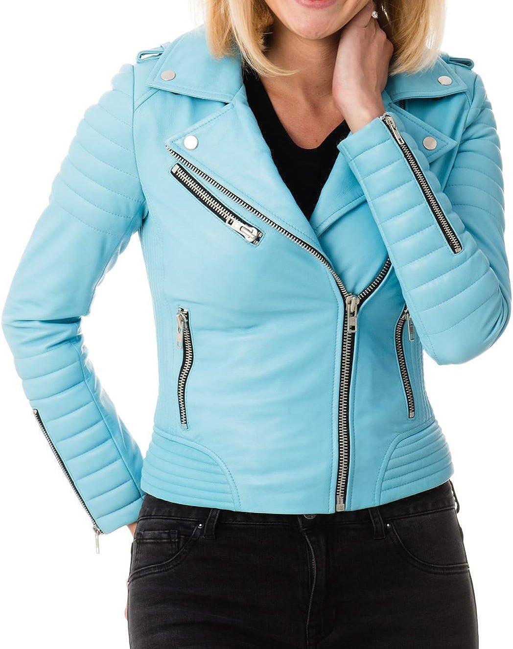 LEATHER FARM Womens Lambskin Leather Bomber Biker Jacket