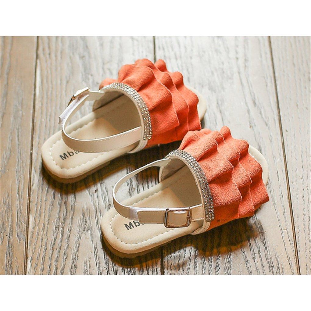 lakiolins Toddler Girls Layered Pleated Slip On Slides Summer Beach Slingback Flat Sandals Orange Size 25 by lakiolins (Image #4)