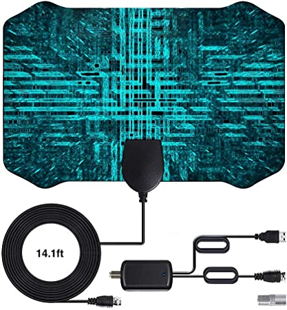 Antena de TV 2020 más Nueva 120 Millas de Tiempo de Funcionamiento Antena TNT en el Interior con Cable coaxial de 4 m de - VHF/UHF/FM Compatible con 4 ...