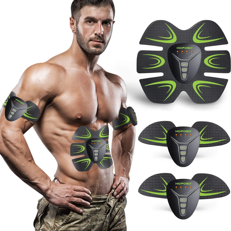 HOPOSO Electroestimulador Muscular Abdominales, Estimulación Muscular Masajeador Eléctrico Cinturón Abdomen/Brazo/Piernas/Glúteos