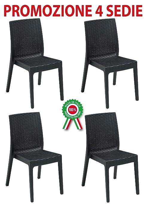 Sedie In Plastica Per Bar.4 Pz Poltrona Sedia Selene In Dura Resina Di Plastica Nera