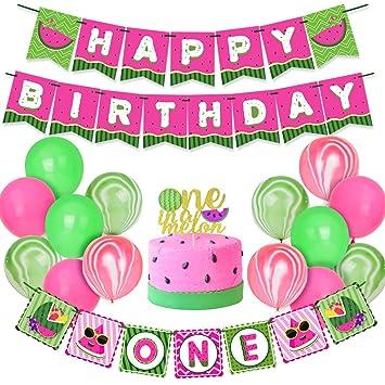 Kreatwow Sandía 1er cumpleaños Decoraciones para niñas niños ...