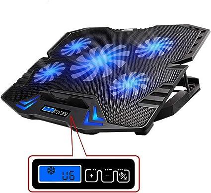 TopMate C5 12–15,6 pouces Tapis de refroidissement pour ordinateur portable, 5 ventilateurs et écran LCD, 2500 trmin avec vent fort conçu pour les