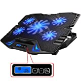 "TopMate TM-3 12-15.6"" Five Quite Fans LCD Screen 2500RPM Strong Wind Speed Designed Gaming Laptop Cooler"