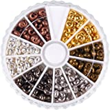 PandaHall Elite 1 Box 6 Colors Brass Crimp Beads Covers Jewelry Making Findings