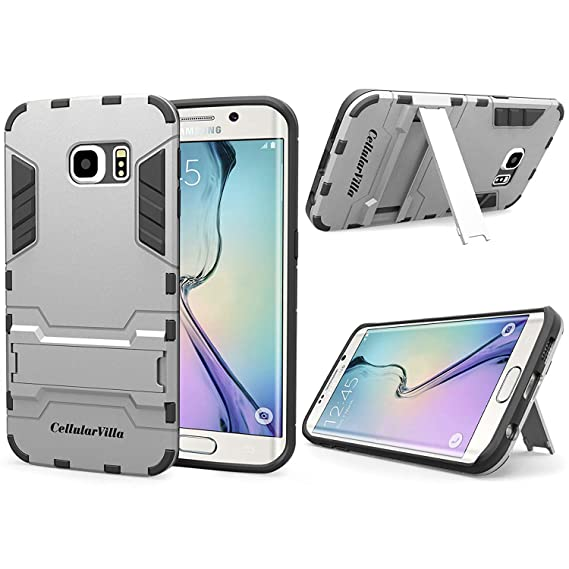 best website e208b b62df Samsung Galaxy S6 Edge Case - Cellularvilla Hard Soft Hybrid Armor Heavy  Duty Rugged Shockproof Case Cover with Built-in Kickstand for Samsung  Galaxy ...