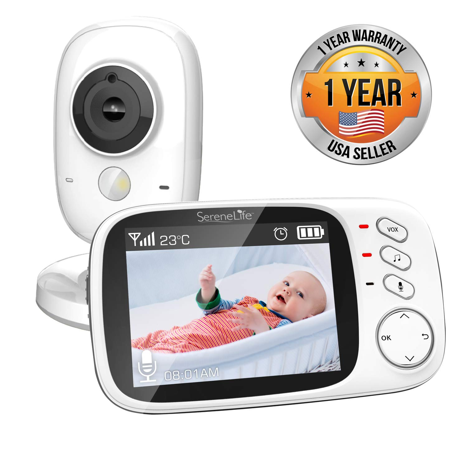 Video Baby Monitor Long Range - Upgraded 850' Wireless Range,  Night Vision, Temperature Monitoring and Portable 2'' Color Screen - Serenelife USA SLBCAM20