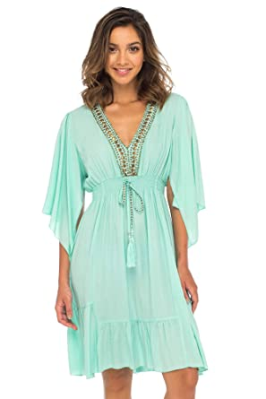 299f578ee13a Back From Bali Womens Short Sundress Flowy Boho Beach Dress with Beaded  Deep V Neck,