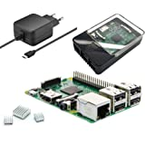 Raspberry Pi 3 Modell B - Light Starterkit - Bestehend aus: Raspberry Pi 3, Micro USB Netzteil 5V / 2,5A, HAT kompatibles Raspberry Pi Gehäuse schwarz/transparent und Kühlkörper-Set by avc-shop