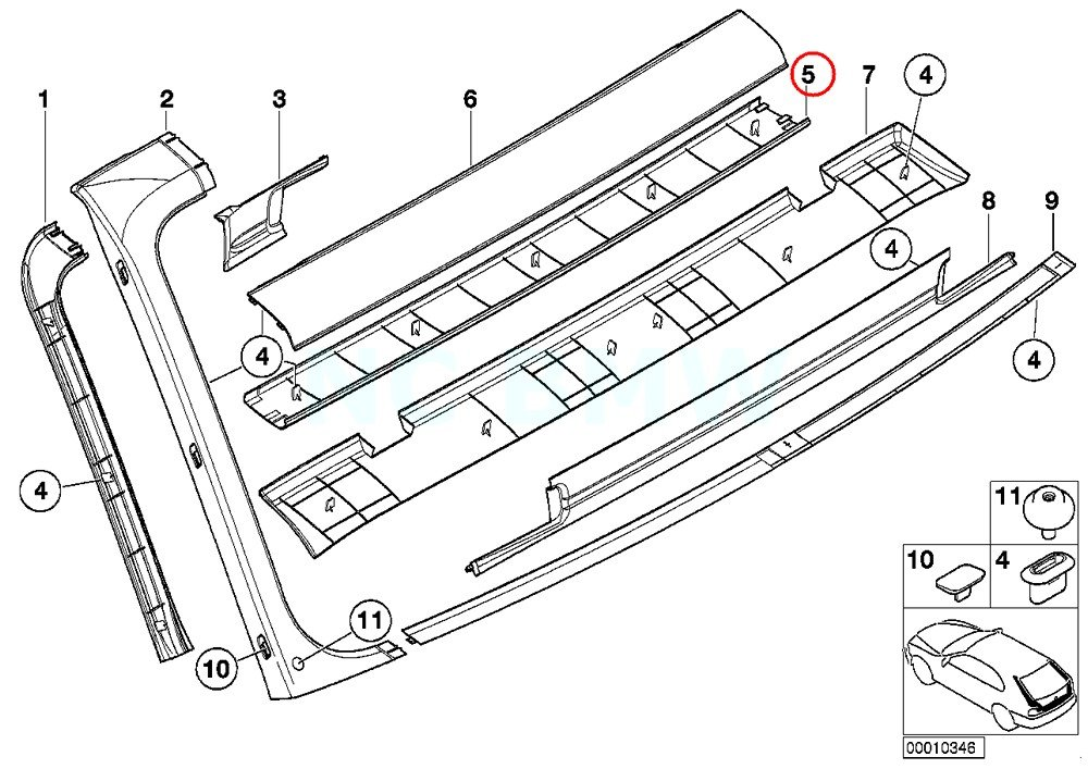 Amazon Com Bmw Genuine Interior Upper Trunk Lid Trim Panel Automotive