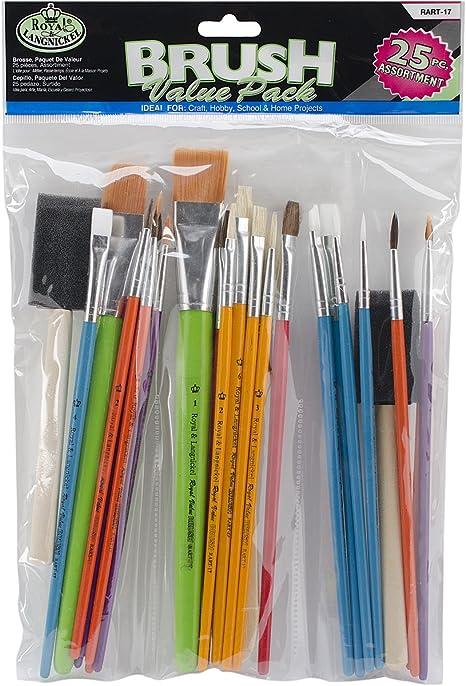 Royal & Langnickel- Brochas artesanía, Pack económico, 25 Piezas (Royal Brush RART-17): Amazon.es: Oficina y papelería