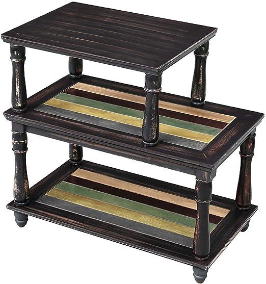 Amazon Com Vasagle End Table With Colorful Storage Shelf 3 Tier