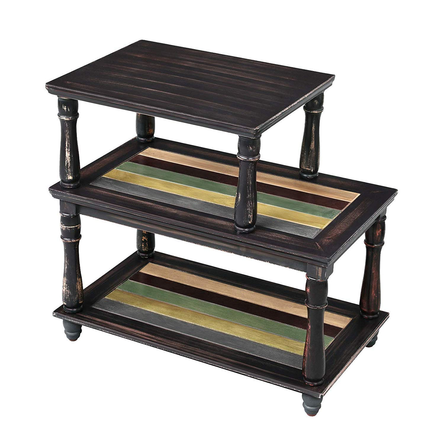 VASAGLE End Table with Colorful Storage Shelf, 3-Tier Narrow Side Table with Solid Wood Legs, Sturdy and Assembly Without Tools, Sofa Table for Living Room, Country Brown ULET18GL by VASAGLE