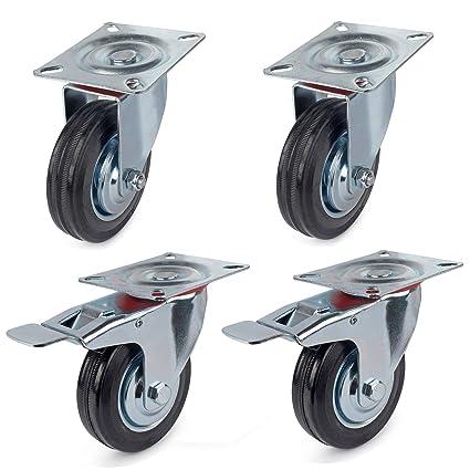 2 swivel with brake, 2 swivel 4 Heavy Duty 540kg 160mm Swivel Castor Wheels Trolley Furniture Caster black Rubber