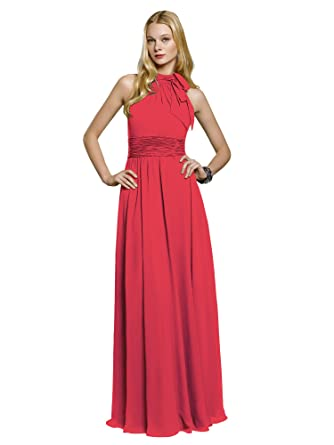 Mori Lee 658 Halter Long Chiffon Keyhole Back Homecoming Dress (14, Strawberry)