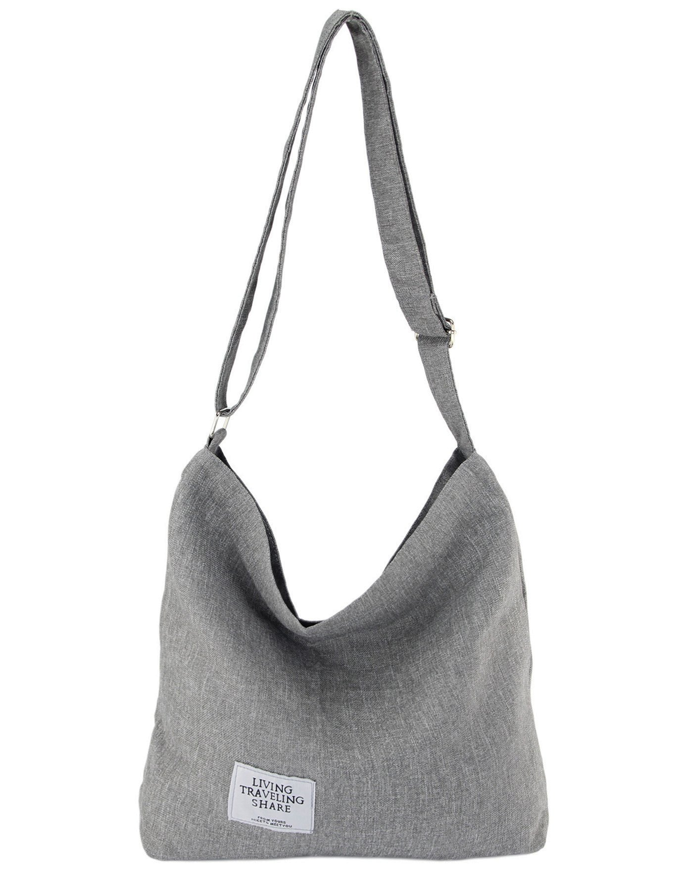 Womens Canvas Crossbody Hobo Bag Large Tote Shoulder Purse with Zipper Casual Work Travel Bags